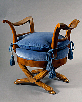 0426808 © Granger - Historical Picture ArchiveDECORATIVE ARTS.   Directoire style walnut Tuscan footstool, Italy, late 18th-early 19th century Full credit: De Agostini / A. Dagli Orti / Granger, NYC -- All Rights Reserved.