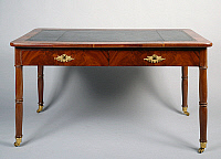 0426960 © Granger - Historical Picture ArchiveDECORATIVE ARTS.   Restauration style mahogany centre writing table with gilt bronzes and two lateral shelves, ca 1820, by Jacob Freres, France, 19th century Full credit: De Agostini / G. Cigolini / Granger, NYC -- All Rights Reserved.