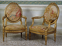 0427075 © Granger - Historical Picture ArchiveDECORATIVE ARTS.   Fauteuil (elbow chair) upholstered with Gobelin fabric, Villa Durazzo-Centurione, Santa Margherita Ligure, Liguria, Italy Full credit: De Agostini / G. Cigolini / Granger, NYC -- All Rights Reserved.