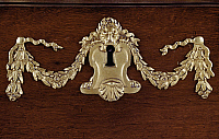 0427097 © Granger - Historical Picture ArchiveDECORATIVE ARTS.   Bronze keyhole with festoons, detail from pair of Louis XIV style coin cabinets made by Andre-Charles Boulle's workshop (1642-1735), France, 18th century Full credit: De Agostini / J. M. Zuber / Granger, NYC -- All Rights Reserved.