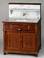 0427741 © Granger - Historical Picture ArchiveDECORATIVE ARTS.   Louis Philippe style pitch pine dressing table with grey flecked white marble top inset with oval washbasin, France, 19th century Full credit: De Agostini / J. M. Zuber / Granger, NYC -- All Rights Reserved.