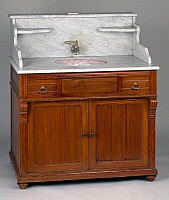 0427742 © Granger - Historical Picture ArchiveDECORATIVE ARTS.   Louis Philippe style pitch pine dressing table with grey flecked white marble top inset with oval washbasin, France, 19th century Full credit: De Agostini / J. M. Zuber / Granger, NYC -- All Rights Reserved.