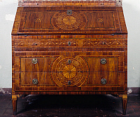 0427821 © Granger - Historical Picture ArchiveDECORATIVE ARTS.   Maggiolini-inspired Lombardian neoclassical style drop leaf writing desk, Mina della Scala castle, Casteldidone, Lombardy, Italy,18th century Full credit: De Agostini / G. Cigolini / Granger, NYC -- All Rights Reserved.