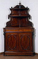 0428136 © Granger - Historical Picture ArchiveDECORATIVE ARTS.   Louis Philippe style solid walnut corner sideboard, Italy, 19th century Full credit: De Agostini / Bardazzi / Granger, NYC -- All Rights Reserved.