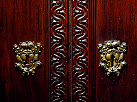 0428200 © Granger - Historical Picture ArchiveDECORATIVE ARTS.   Escutcheon on doors of walnut wardrobe with Farnese family coat of arms, Italy, Second half 16th century, Detail Full credit: De Agostini / A. Dagli Orti / Granger, NYC -- All Rights Reserved.