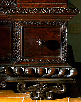 0428204 © Granger - Historical Picture ArchiveDECORATIVE ARTS.   Walnut wardrobe with Farnese family coat of arms, Italy, Second half 16th century, Detail Full credit: De Agostini / A. Dagli Orti / Granger, NYC -- All Rights Reserved.