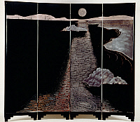 0428229 © Granger - Historical Picture ArchiveDECORATIVE ARTS.   Light of moon (Claire De Lune), lacquered silver screen with four panels, designed by Jean Dunand (1877-1942), Art Deco style, Switzerland, 20th century Full credit: De Agostini / Etude Tajan / Granger, NYC -- All Rights Reserved.