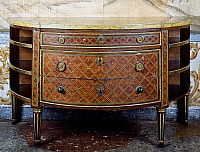 0428571 © Granger - Historical Picture ArchiveDECORATIVE ARTS.   Louis XVI style Piedmont crescent-shaped commode with geometric inlay, 19th century copy, Masino Castle, Caravino, Piedmont, Italy Full credit: De Agostini / G. Cigolini / Granger, NYC -- All Rights Reserved.