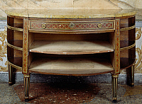 0428572 © Granger - Historical Picture ArchiveDECORATIVE ARTS.   Louis XVI style Piedmont crescent-shaped commode with geometric inlay, 19th century copy, without drawers, Masino Castle, Caravino, Piedmont, Italy Full credit: De Agostini / G. Cigolini / Granger, NYC -- All Rights Reserved.