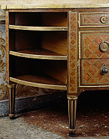 0428573 © Granger - Historical Picture ArchiveDECORATIVE ARTS.   Louis XVI style Piedmont crescent-shaped commode with geometric inlay, 19th century copy, Masino Castle, Caravino, Piedmont, Italy, detail of the side shelves Full credit: De Agostini / G. Cigolini / Granger, NYC -- All Rights Reserved.