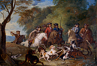 0429946 © Granger - Historical Picture ArchiveFINE ART.   Study for The Wolf Hunt, 1720-1723, by Alexandre Francois Desportes (1661-1743), oil on board (sketch), 27x39 cm. Full credit: De Agostini Picture Library / Granger, NYC -- All Rights Reserved.