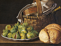 0429996 © Granger - Historical Picture ArchiveFINE ART.   Still life with figs, 1760-1770, by Luis Melendez (1716-1780), oil on canvas, 37x49 cm. Full credit: De Agostini Picture Library / Granger, NYC -- All Rights Reserved.