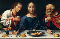 0429997 © Granger - Historical Picture ArchiveFINE ART.   The Last Supper, Christ between John and Peter, 1520 ca, Joos van Cleve (1485-1540 ca), altarpiece from the church of Frati Minori in Genoa, Italy, 16th century. Full credit: De Agostini Picture Library / Granger, NYC -- All Rights Reserved.