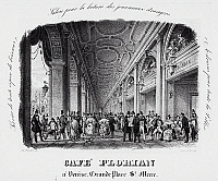 0430073 © Granger - Historical Picture ArchiveFINE ART.   Caffe Florian in Piazza San Marco in Venice, engraving. Italy, 19th century. Full credit: De Agostini Picture Library / Granger, NYC -- All Rights Reserved.