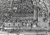 0430082 © Granger - Historical Picture ArchiveFINE ART.   Piazza San Marco and the Fondaco della Farina (Flour warehouse), 1500, detail from the Bird's eye view of Venice, by Jacopo de Barbari (born between 1460-1470 died ca 1516). Woodcut, Italy, 16th century. Detail. Full credit: De Agostini Picture Library / Granger, NYC -- All Rights Reserved.