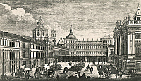 0430110 © Granger - Historical Picture ArchiveFINE ART.   Piazza Castello, Turin, engraving by Ignazio Sclopis, Count of Borgo (1727-1793). Italy, 18th century. Full credit: De Agostini Picture Library / Granger, NYC -- All Rights Reserved.
