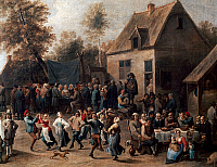 0430139 © Granger - Historical Picture ArchiveFINE ART.   Country celebration, painting by David Teniers the Younger (1610-1690), oil on canvas, 69x86 cm. Detail. Full credit: De Agostini / M. Seemeller / Granger, NYC -- All Rights Reserved.
