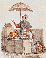0430146 © Granger - Historical Picture ArchiveFINE ART.   Orange seller, print, France, 19th century. Full credit: De Agostini / M. Seemuller / Granger, NYC -- All Rights Reserved.