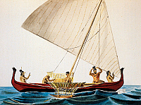 0430306 © Granger - Historical Picture ArchiveFINE ART.   A proh, typical Caroline Island boat, colour engraving from a painting by Adrien Taunay the Younger (1803-1828), from the Narrative of a voyage round the world in the Uranie and Physicienne, corvettes commanded by Captain Freycinet, 1817-1820, by Louis de Freycinet. 19th century. Full credit: De Agostini / M. Seemuller / Granger, NYC -- All Right