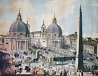 0430328 © Granger - Historical Picture ArchiveFINE ART.   Feast Day in Piazza del Popolo in Rome, engraving. Italy, 18th century. Full credit: De Agostini Picture Library / Granger, NYC -- All Rights Reserved.