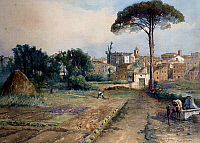 0430330 © Granger - Historical Picture ArchiveFINE ART.   View of the gardens in the Prati neighbourhood (Prati di Castello) in Rome, by Ettore Roesler Franz (1845-1907), watercolour. Italy, 19th-20th century. Full credit: De Agostini Picture Library / Granger, NYC -- All Rights Reserved.