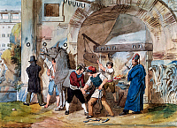 0430393 © Granger - Historical Picture ArchiveFINE ART.   Farrier in Rome at the Trevi Fountain, watercolour by Achille Pinelli (1809-1841). Italy, 19th century. Full credit: De Agostini / V. Pirozzi / Granger, NYC -- All Rights Reserved.