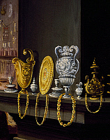 0430427 © Granger - Historical Picture ArchiveFINE ART.   The jewellers' workshop, detail of vases, trays and necklaces in gold and silver, 1570, painting by Alessandro Fei (1538-1543 - 1592), Studiolo of Francesco I, Palazzo Vecchio, Florence, Italy. Full credit: De Agostini / G. Nimatallah / Granger, NYC -- All Rights Reserved.
