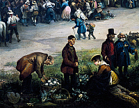 0430433 © Granger - Historical Picture ArchiveFINE ART.   Seller of vegetables, detail from Feast of St Michael, painting by Carlo Ferrari (1813-1871). Full credit: De Agostini / A. Dagli Orti / Granger, NYC -- All Rights Reserved.