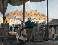 0430481 © Granger - Historical Picture ArchiveFINE ART.   The Acropolis of Athens seen from the house of the French consul Louis-Francois-Sebastien Fauvel, 1819, painting by Louis Dupre (1789-1837). Full credit: De Agostini / G. Dagli Orti / Granger, NYC -- All Rights Reserved.