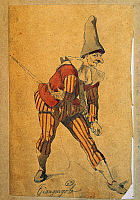 0430500 © Granger - Historical Picture ArchiveFINE ART.   Giangurgolo, Commedia dell'arte character, drawing by Maurice Sand (1823-1889). Full credit: De Agostini / G. Dagli Orti / Granger, NYC -- All Rights Reserved.
