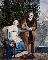 0430509 © Granger - Historical Picture ArchiveFINE ART.   Doctor with pregnant woman, ca 1805 engraving by Forget. France, 19th century. Full credit: De Agostini / G. Dagli Orti / Granger, NYC -- All Rights Reserved.