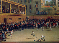 0430531 © Granger - Historical Picture ArchiveFINE ART.   The handball game, by Pietro Fabris (active 1768-1778). Detail. Italy, 18th century. Full credit: De Agostini / A. Dagli Orti / Granger, NYC -- All Rights Reserved.