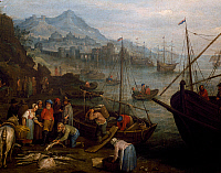 0430544 © Granger - Historical Picture ArchiveFINE ART.   Port and fishermen, painting by Jan Frans Beschey (1717-1799). Full credit: De Agostini / G. Dagli Orti / Granger, NYC -- All Rights Reserved.