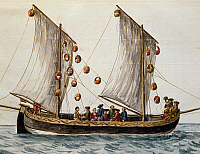 0430568 © Granger - Historical Picture ArchiveFINE ART.   Venetian boat decked out for the Feast of the Redeemer, by Jan Grevenbroeck (1731-1807), watercolour. Italy, 18th century. Full credit: De Agostini / A. Dagli Orti / Granger, NYC -- All Rights Reserved.
