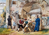 0430655 © Granger - Historical Picture ArchiveFINE ART.   Farrier in Rome at the Trevi Fountain, watercolour by Achille Pinelli (1809-1841). Italy, 19th century. Full credit: De Agostini / A. Dagli Orti / Granger, NYC -- All Rights Reserved.
