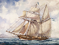 0430730 © Granger - Historical Picture ArchiveFINE ART.   Sailing along the coast of the Falkland Islands with the schooner the Sarandi in 1832-1833, by E Biggeri, watercolour. 19th century. Full credit: De Agostini / G. Dagli Orti / Granger, NYC -- All Rights Reserved.