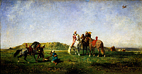 0430743 © Granger - Historical Picture ArchiveFINE ART.   Falconry in Algeria, 1862 painting by Eugene Fromentin (1820-1876), oil on canvas, 45x85,5 cm. Full credit: De Agostini / G. Dagli Orti / Granger, NYC -- All Rights Reserved.