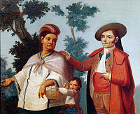 0430766 © Granger - Historical Picture ArchiveFINE ART.   Indian woman, mixed race child and Spanish man, painting. Mexico, 18th century. Full credit: De Agostini / G. Dagli Orti / Granger, NYC -- All Rights Reserved.