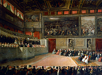 0430797 © Granger - Historical Picture ArchiveFINE ART.   Academy of Music in Salone dei Cinquecento (Hall of the Five Hundred) in Palazzo Vecchio, Florence, 1845, painting by Ferdinand Folchi (1822-1883), 88x118 cm. Full credit: De Agostini / G. Nimatallah / Granger, NYC -- All Rights Reserved.