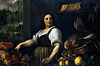 0430864 © Granger - Historical Picture ArchiveFINE ART.   The cook in the kitchen, by Vincenzo Campi (1536-1591). Full credit: De Agostini / V. Pirozzi / Granger, NYC -- All Rights Reserved.