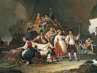 0430866 © Granger - Historical Picture ArchiveFINE ART.   Breakfast by the sea, by Pietro Fabbris (1740-1792), detail. Full credit: De Agostini / A. Dagli Orti / Granger, NYC -- All Rights Reserved.