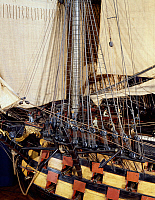 0430917 © Granger - Historical Picture ArchiveFINE ART.   Ocean-class ship model, first class vessel with 120 cannons. Detail. France, 18th-19th century. Full credit: De Agostini Picture Library / Granger, NYC -- All Rights Reserved.