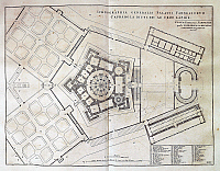 0431100 © Granger - Historical Picture ArchiveFINE ART.   Floor plan of Palazzo Farnese in Caprarola, engraving from New Theater of Italy, Or Exact Description of Its Cities, Palaces, Churches, Principal Buildings, etc, by Pierre Mortier (1661-1711), printed in Amsterdam,1704. Italy, 18th century. Full credit: De Agostini Picture Library / Granger, NYC -- All Rights Reserved.
