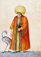 0431128 © Granger - Historical Picture ArchiveFINE ART.   Turkish man with flamingo, drawing by Jacopo Ligozzi (1547-1627). Full credit: De Agostini / G. Nimatallah / Granger, NYC -- All Rights Reserved.