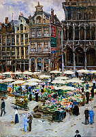 0431336 © Granger - Historical Picture ArchiveFINE ART.   Flower market in the Grand Place, Brussels, watercolour by Ketty Gilsou-Hoppe (1868-1939), 53x36.5 ??cm. Full credit: De Agostini / G. Dagli Orti / Granger, NYC -- All Rights Reserved.