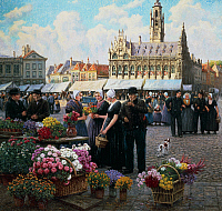 0431337 © Granger - Historical Picture ArchiveFINE ART.   The flower market in Middelburg, the Netherlands, Henri Houben (1858-1931), oil on canvas, 110x120 cm. Full credit: De Agostini / G. Dagli Orti / Granger, NYC -- All Rights Reserved.