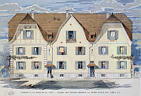 0431351 © Granger - Historical Picture ArchiveFINE ART.   Working-class town in Munster in Alsace, designed by the architects L and A Feine, early 1900s. France, 20th century. Full credit: De Agostini Picture Library / Granger, NYC -- All Rights Reserved.