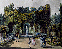 0431414 © Granger - Historical Picture ArchiveFINE ART.   Romantic garden of Neuwaldegg, watercolour. Austria, 19th century. Full credit: De Agostini / A. Dagli Orti / Granger, NYC -- All Rights Reserved.