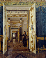 0431420 © Granger - Historical Picture ArchiveFINE ART.   Rooms of Maria Feodorovna in the Winter Palace in St Petersburg, painting by Sergey Zaryenko (1818-1871). Full credit: De Agostini / A. Dagli Orti / Granger, NYC -- All Rights Reserved.
