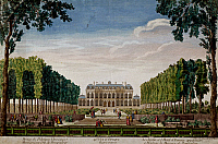 0431423 © Granger - Historical Picture ArchiveFINE ART.   The garden and Hotel d'Evreux, once belonging to Madame de Pompadour, ca 1750, coloured etching, 30,8x46,4 cm. France, 18th century. Full credit: De Agostini / G. Dagli Orti / Granger, NYC -- All Rights Reserved.
